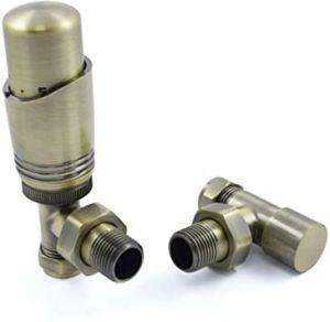 Delta Angled Thermostatic Radiator Valve Set - Antique Brass