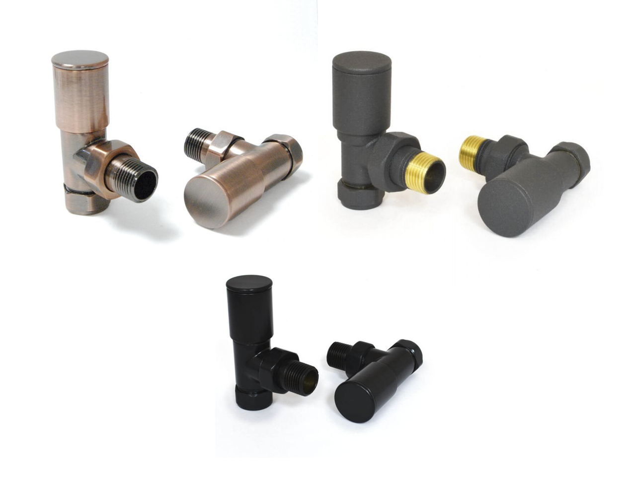 Different radiator valves - Straight, angled and corner